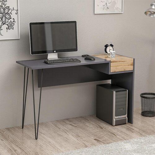 Γραφείο χρώμα ανθρακί-καρυδί με μεταλλικά μαύρα πόδια 121x41x76