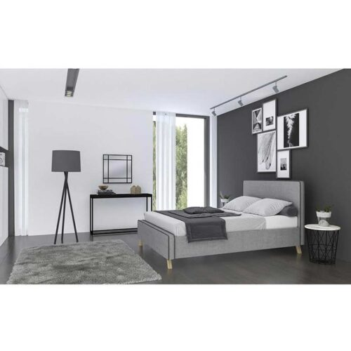 Κρεβάτι Διπλό WATUS με Τάβλες με επενδυση Υφασμά Γκρί σκούρο 160x200