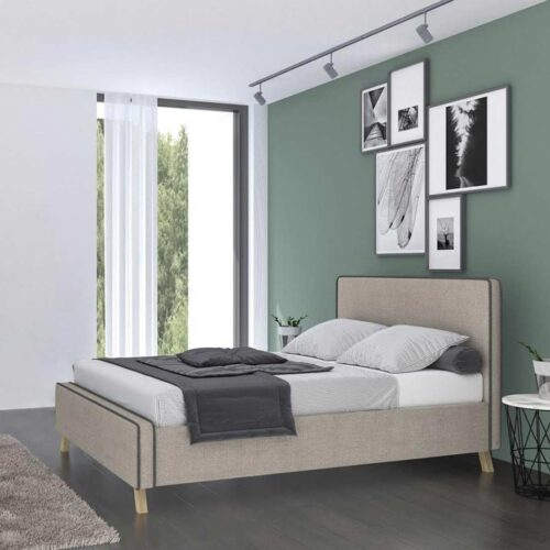 Κρεβάτι Διπλό SHERLUS με Τάβλες με επενδυση Υφασμά μπέζ ανοιχτό 160x200