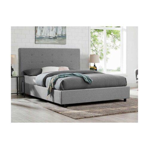 Κρεβάτι Διπλό MONOLAUS με Τάβλες με επενδυση Υφασμά Γκρί ανοιχτό 160x200