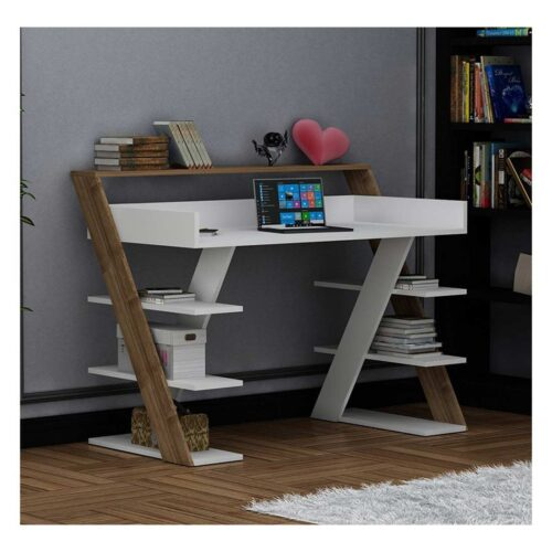 Γραφείο σε χρώμα λευκό-καρυδί 123.5x55x95.5
