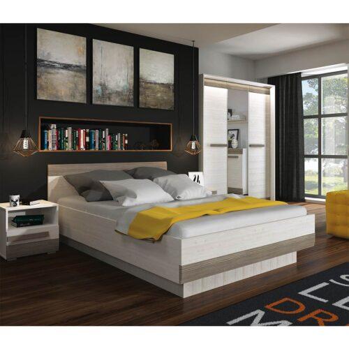 Κρεβάτι διπλό LOTES με τάβλες σε απόχρωση Λευκό-γκρι 160×200