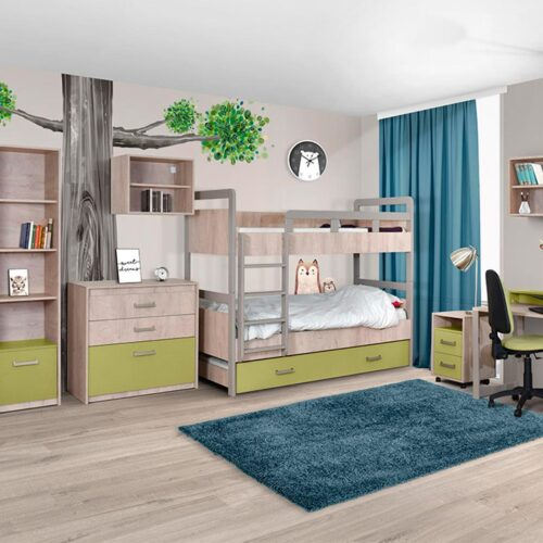 Κουκέτα παιδική με Τάβλες και αποθηκευτικό χώρο σε 4 αποχρώσεις 90×200