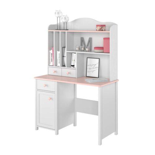 Γραφείο με ντουλαπάκι και συρτάρι σε απόχρωση Λευκό-ρόζ 110x52x76