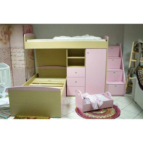 Κουκέτα Υπερυψωμένη με τάβλες και αποθηκευτικό χώρο σε απόχρωση Δρύς – Ρόζ μάτ 90×200
