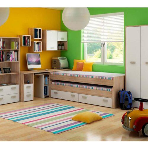 Χαμηλή κουκέτα με δεύτερο Κρεβάτι και αποθηκευτικό χώρο σε απόχρωση Φυσικό - Λευκό 90×200