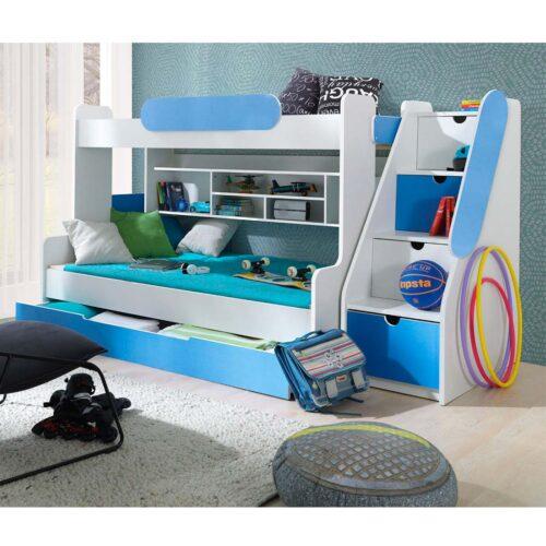 Κουκέτα παιδική με αποθηκευτικό χώρο σε απόχρωση Λευκό-Γαλάζιο 262x130x145