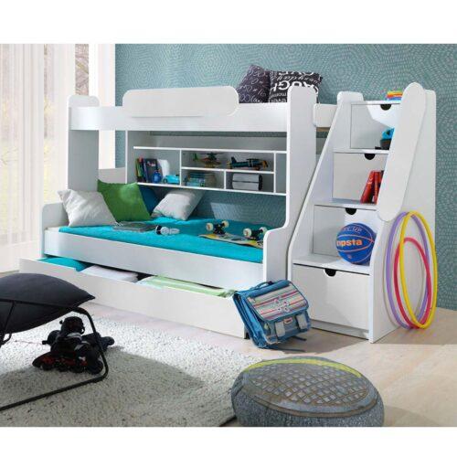 Κουκέτα παιδική με αποθηκευτικό χώρο σε απόχρωση Λευκό μάτ 262x130x145