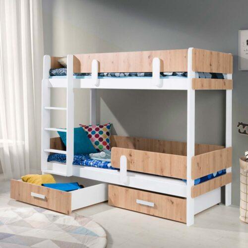 Κουκέτα παιδική με Τάβλες και με αποθηκευτικό χώρο σε απόχρωση sonoma Λευκό-Μάτ 80x180