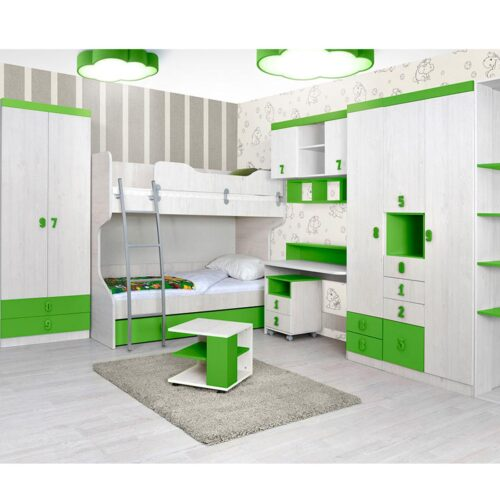 Κουκέτα παιδική με Τάβλες και με αποθηκευτικό χώρο σε απόχρωση Άσπρο Δρυς Πράσινο 90x200
